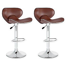 "Corliving™ Faux Leather Swivel 32"" Bar Stools (Set of 2)"