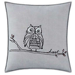 ED Ellen DeGeneres Boceto Hoot Owl Square Throw Pillow in Pastel Grey