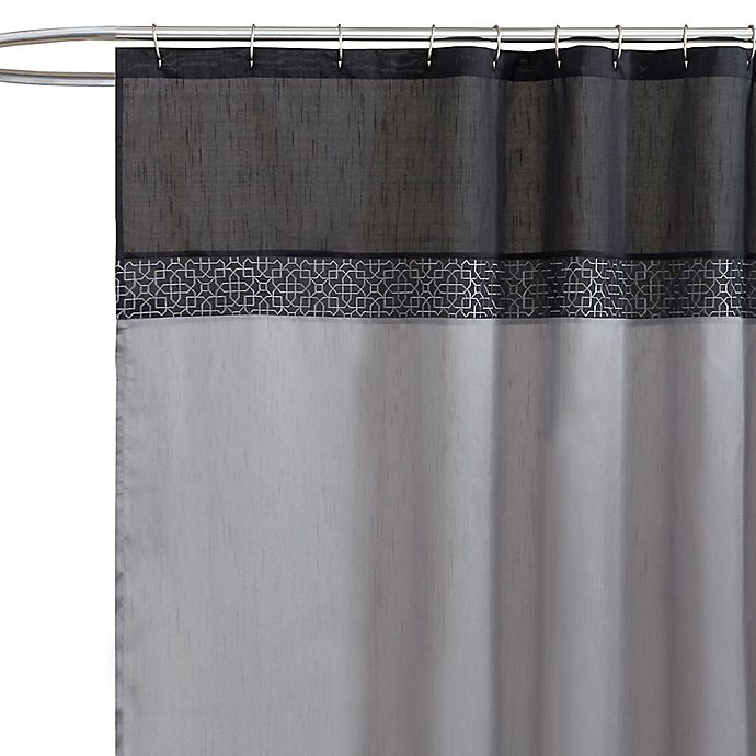 Geometric Black Silver Fabric Shower Curtain