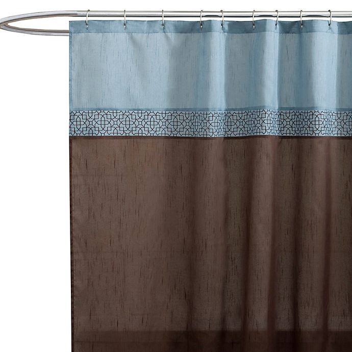 geometric blue brown fabric shower curtain bed bath beyond. Black Bedroom Furniture Sets. Home Design Ideas