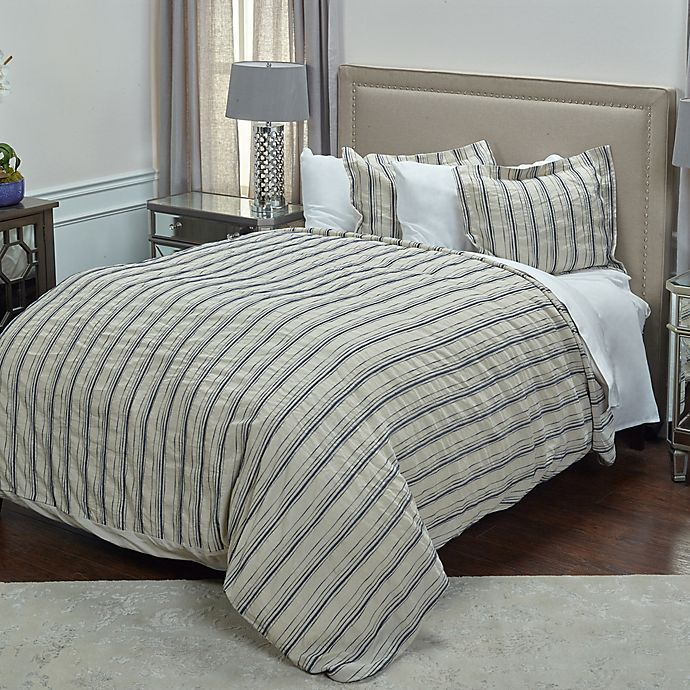 Alternate image 1 for Rizzy Home Vincent III Queen Duvet Cover in Natural
