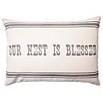 """Bee & Willow™ Home """"Our Nest is Blessed"""" Oblong Throw Pillow in Natural"""