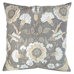 Bee & Willow™ Home Floral Square Throw Pillow in Grey
