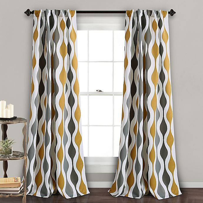Mid Century Geo 2 Pack 84 Inch Rod Pocket Back Tab Room Darkening Window Curtain In Gold Grey Bed Bath Beyond