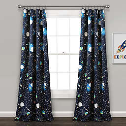 Universe Rod Pocket Room Darkening Window Curtain Panel Pair