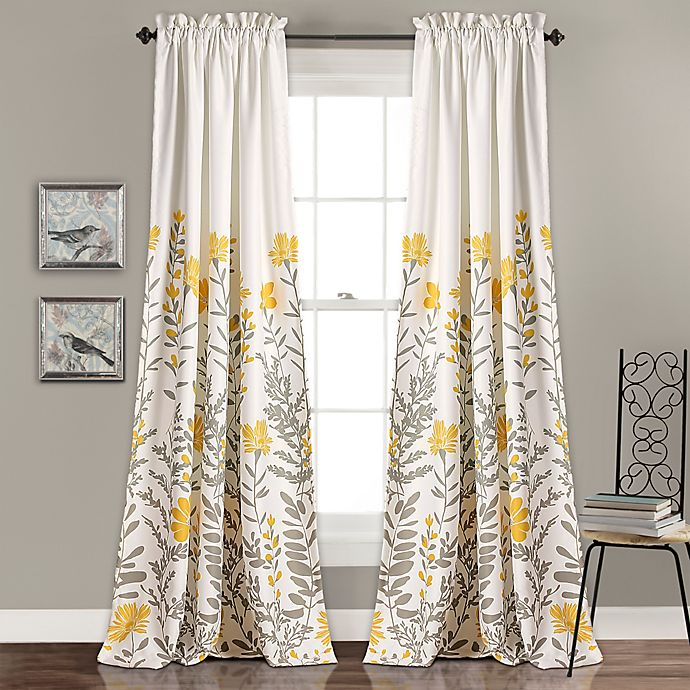 Alternate image 1 for Aprile 2-Pack 84-Inch Rod Pocket Room Darkening Window Curtain in Yellow