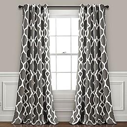 Connor Geo 84-Inch Rod Pocket Room Darkening Window Curtain Panel Pair in Grey