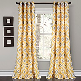 Diamond Ikat Grommet Room Darkening Window Curtain Panel Pair