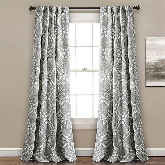 Alternate image 1 for Kane Geo 84-Inch Rod Pocket/Back Tab Room Darkening Window Curtain Panel Pair in Grey