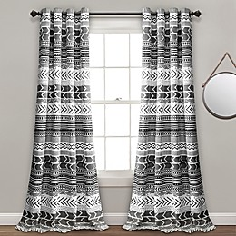 Hygge Geo Grommet Room Darkening Window Curtain Panel Pair
