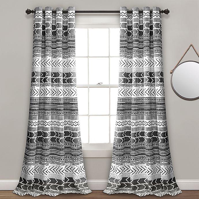 Alternate image 1 for Hygge Geo 84-Inch Grommet Room Darkening Window Curtain Panel Pair in Black