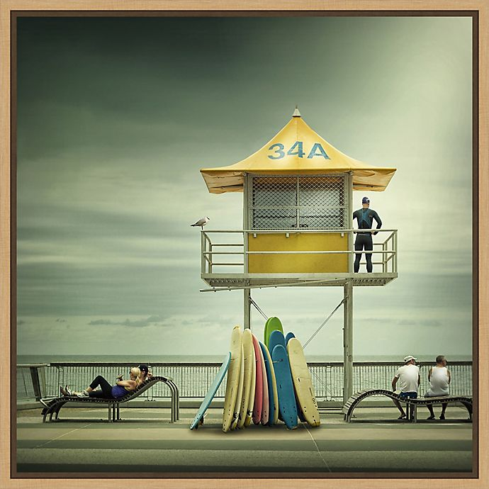 Alternate image 1 for Amanti Art® Adrian Donoghue Coastal 22-Inch Square Framed Canvas in Maple
