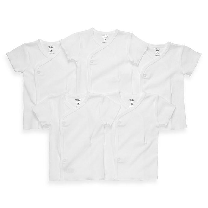 Alternate image 1 for carter's® 5-Pack Size 6 Months White Side-Snap Undershirts