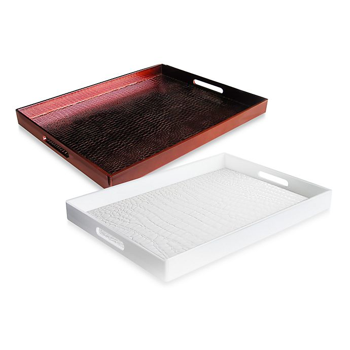 Topmatras Swiss Sense.Alligator Embellished 14 Inch X 19 Inch Rectangular Serving Trays