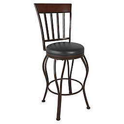 Corliving™ Leather Swivel Jericho Bar Stool in Dark Brown
