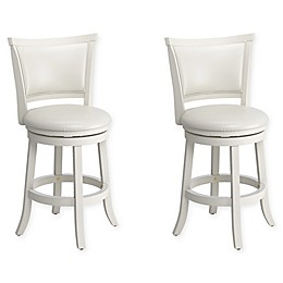 Corliving™ Faux Leather Swivel Woodgrove Bar Stools in Brown(Set of 2)