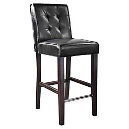 Corliving™ Leather Upholstered Antonio Bar Stool in Black