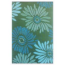 Mad Mats® Daisy 5' x 8' Flat-Weave Indoor/Outdoor Area Rug in Aqua Green