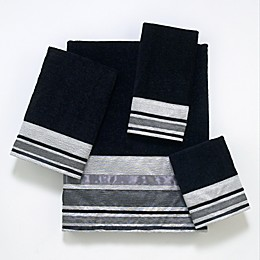 Avanti Geneva Bath Towel Collection in Black/Silver