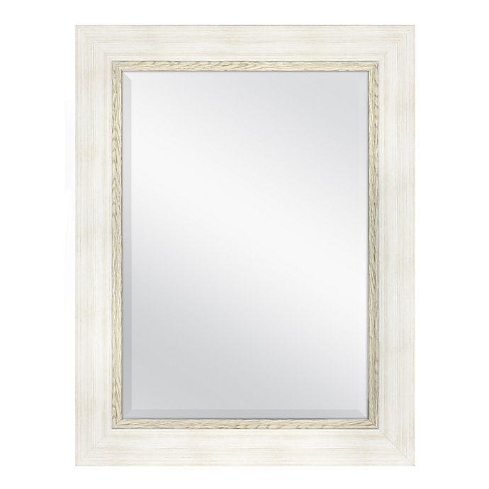 Alternate image 1 for Framed Beveled Mirror in Cream/Woodgrain