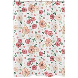 Sweet Jojo Designs® Watercolor Floral Shower Curtain in Peach/Green