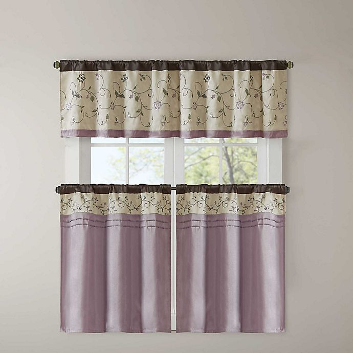 Alternate image 1 for Madison Park Serene Embroidered 24-Inch Kitchen Window Curtain Tier Pair in Purple