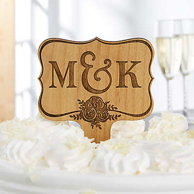 Wedding Day Initials Wooden Personalized Cake Topper