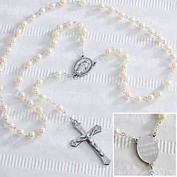 Personalized Adult Pearl Rosary in White
