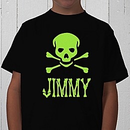 Glow-in-the-Dark Skull Personalized Youth T-Shirt