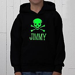 Glow-in-the-Dark Skull Personalized Hooded Sweatshirt