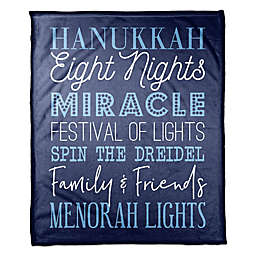 Designs Direct Hanukkah Words Throw Blanket in Blue