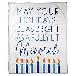 Designs Direct Hanukkah Fully-Lit Menorah Throw Blanket in Blue