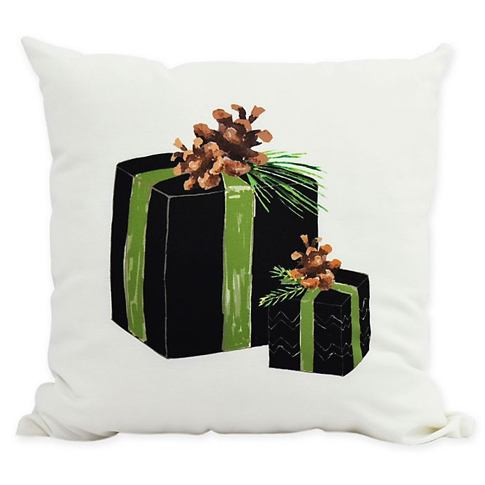 Alternate image 1 for E By Design Winter Resort Gift Wrapped Throw Pillow in Black