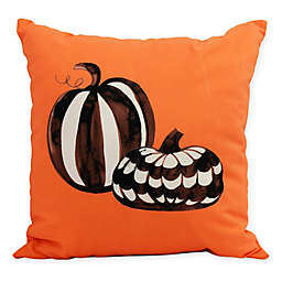 E by Design Witches Brew Pumpkin Duo Square Throw Pillow in Orange