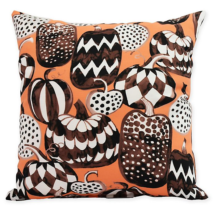 Alternate image 1 for E by Design Witches Brew Pumpkins Galore Square Throw Pillow in Orange