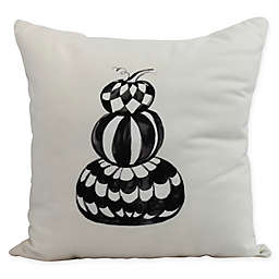 E by Design Witches Brew Pumpkin Stack Square Throw Pillow in Cream