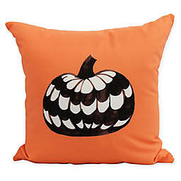 E by Design Witches Brew Pumpkin Square Throw Pillow in Orange