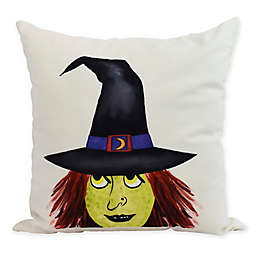 E by Design Witches Brew Peek-A-Boo Witch Square Throw Pillow in Cream