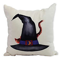 E by Design Witches Brew Cat Behind the Hat Square Throw Pillow in Cream