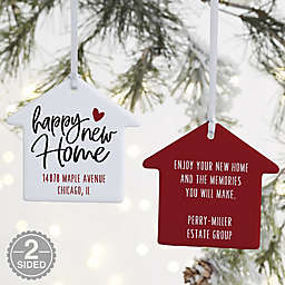 2-Sided Happy New Home Personalized House Ornament