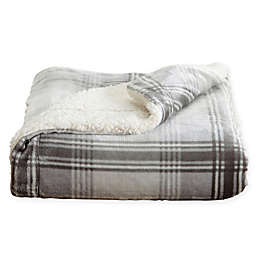Great Bay Home Ceilo Plaid Reversible Throw Blanket in Grey