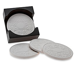 Embossed Coasters with Holder (Set of 4)