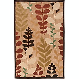 Surya Portera Floral Indoor/Outdoor Rug in Brown/Green