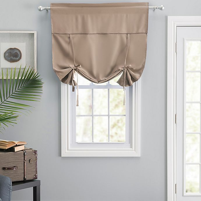 Alternate image 1 for Blackstone Room Darkening Tie-Up Shade in Taupe