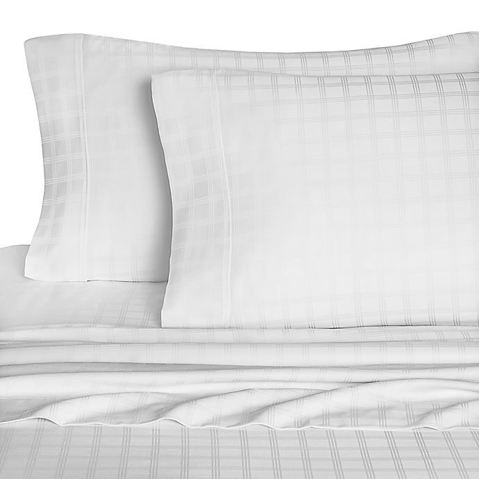 Alternate image 1 for Eucalyptus Origins 600-Thread-Count Windowpane Standard Pillowcases in White (Set of 2)