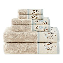 Madison Park 6-Piece Serene Jacquard Towel Set in Blue
