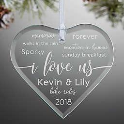 I Love Us Engraved Heart Christmas Ornament