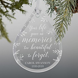 Memorial Engraved Teardrop Christmas Ornament.