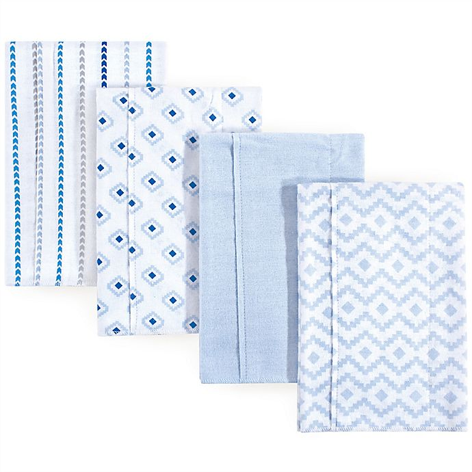 Alternate image 1 for Hudson Baby 4-Pack Modern Boy Burp Cloth Set in Blue
