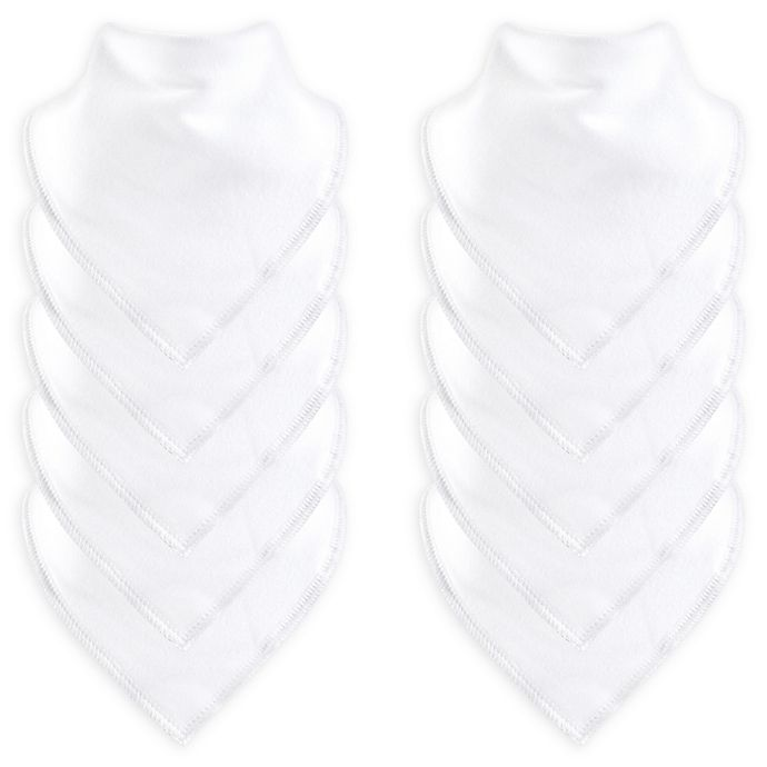 Alternate image 1 for Hudson Baby® 10-Pack Pleated Bandana Bibs with Fleece Backing in White